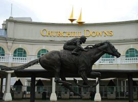 The entrance to one of American racing's cathedrals: Churchill Downs, will be silent the first Saturday in May for the first time since 1945. (Image: KY Bluegrass/Wikimedia Commons