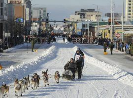 2018 champion Joar Leifseth Ulsom during the 2019 Iditarod in downtown Anchorage, Alaska. (Image: Michael Dineen/AP)