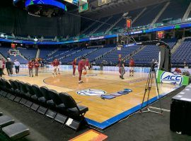 The Florida State basketball team warms up in front of empty arena in Greensboro, North Carolina during the ACC Tournament before officials cancelled it. (Image: AP)