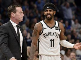 Ex-Brooklyn Nets coach Kenny Atkinson on the sidelines with guard Kyrie Irving during a game at Barclays Center in Brooklyn, NY. (Image: Brandon Dill/AP)
