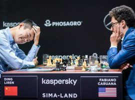 Fabiano Caruana suffered a loss to Ding Liren in Round 3, but is still the favorite to win the 2020 Candidates Tournament. (Image: Lennart Ootes/FIDE)