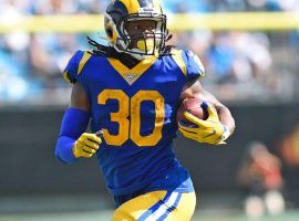 Todd Gurley rushes for a touchdown against the Seattle Seahawks in LA Coliseum. (Image: Getty)