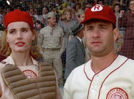 "Geena Davis and Tom Hanks in ""A League of Their Own"" (1992). (Image: Columbia Pictures/Sony)"