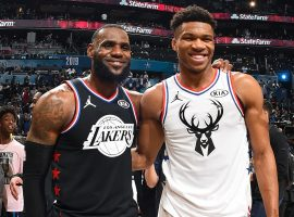"LeBron James and Giannis ""Greek Freak"" Antetokounmpo during the 2019 All-Star Game in Charlotte, NC (Image: Andrew D. Bernstein/Getty)"
