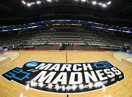 The basketball court prior to the beginning of 2018 March Madness college basketball tournament at PPG Paints Arena in Pittsburgh, PA. (Image: Rob Carr/Getty)