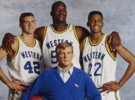 "Nick Nolte stars with Matt Nover, Shaquille O'Neal, and Penny Hardaway in ""Blue Chips"", directed by William Friedkin. (Image: Paramount)"