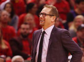 Nick Nurse along the Toronto Raptors sidelines during the 2019 NBA Playoffs. (Image: Gregory Shamus/Getty)