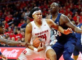 Rutgers guard, Ron Harper. Jr. drives to the basketball against Penn State at the RAC in Piscataway, NJ. (Image: Noah K. Murray/USA Today Sports)