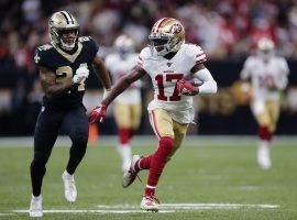 Emmanuel Sanders scampers for a touchdown for the San Francisco 49ers against the New Orleans Saints at the Superdome in 2019. (Image: Brett Duke/AP)