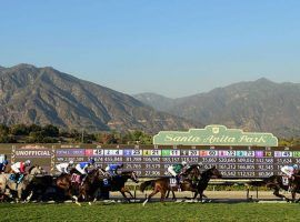 Until further notice, fans won't be able to enjoy this spectacular view of the San Gabriel Mountains behind the Santa Anita finish line. The track is closed to spectators. (Image: Santa Anita Park)