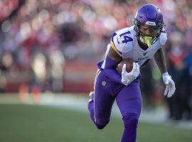 Former Minnesota Vikings WR Stefon Diggs catches a pass against the San Francisco 49ers in the NFC divisional playoffs. (Image: Liz Flores/Star Tribune)
