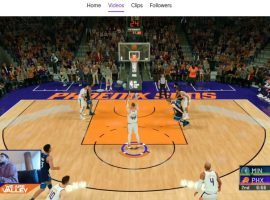 Phoenix Suns rookie Ty Jerome mans the controls for the virtual Phoenix Suns versus the Minnesota Timberwolves on NBA 2K. (Image: Phoenix Sun/Twitch)
