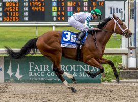 With his gate-to-wire victory in the Louisiana Derby, Wells Bayou currently leads the Kentucky Derby points standings. (Image: Hodges Photography/Lou Hodges Jr.)
