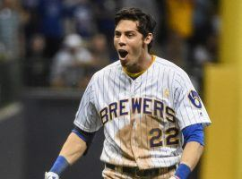 Milwaukee Brewers RF Christian Yelich celebrates a walk-off hit at Miller Park in Milwaukee, WI. (Image: Ryan Mansfield/USA Today Sports)