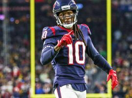 DeAndre Hopkins, ex-WR for the Houston Texans, celebrates a touchdown against the Indianapolis Colts at NRG Stadium in Houston, TX. (Image: Wesley Hitt/Getty)