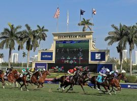 Despite legal threats from a city official who says racing is a non-essential business, Gulfstream Park intends to reach the finish line with its meet card. That includes Saturday's Florida Derby. (Image: Getty Images)