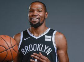 Kevin Durant during a photo shoot after he signed with the Brooklyn Nets. (Image: Brooklyn Nets)