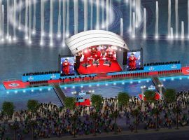 The NFL Draft in Las Vegas was going to feature a stage in front of the Bellagio fountains, and a boat taking draft picks to the stage, but the league cancelled the festivities. (Image: NFL)