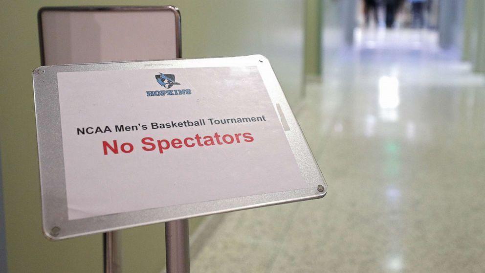 No Spectators sign (due to coronavirus)
