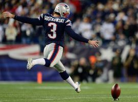 Ex-New England Patriots kicker, Stephen Gostkowski, kicking off during a game at Gillette Field in Foxboro, MA in 2018. (Image: Ryan Mansfield/Getty)