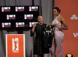 WNBA President Lisa Borders and Las Vegas Aces #1 draft pick A'ja Wilson in 2018. (Image: Julie Jacobson/AP)