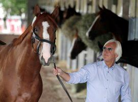 Even for him, Bob Baffert, seen here with 2018 Triple Crown winner Justify, has an endless barn of 3-year-old Kentucky Derby prospects. Scheduling them is like playing equine Tetris. (Image: AP Photo)