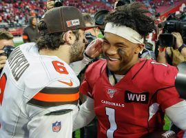 Two former #1 picks, Cleveland Browns QB Baker Mayfield and Arizona Cardinals QB Kyler Murray meet postgame in Cleveland. (Image: Kevin Abele/Getty)