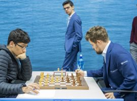 Magnus Carlsen (right) defeated Alireza Firouzja (left) in the Magnus Carlsen Invitational online tournament to take the latest chapter in their budding rivalry. (Image: Getty)