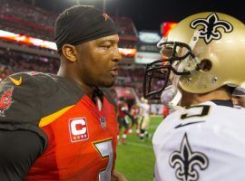 James Winston (ex-Tampa Bay Bucs QB) and New Orleans Saints QB Drew Brees meet after a 2017 game in Tampa. (Image: Tampa Tribune)