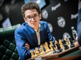 Fabiano Caruana scored a big Round 6 win over Maxime Vachier-Lagrave to reach the Magnus Carlsen Invitational semifinals. (Image: Lennart Ootes/FIDE)
