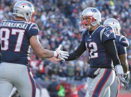 Rob Gronkowski and Tom Brady during warm-ups at Super Bowl LIII. (Image: Mark J. Rebilas/USA Today Sports)