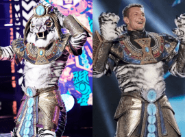 "Ex-Patriots star, Rob Gronkowksi, gets unmasked on ""The Masked Singer"" last night. (Image: Fox)"