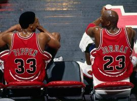 Scottie Pippen and Michael Jordan sitting on the bench during the Jordan's final season with the Chicago Bulls against Vancouver Grizzlies in 1998. (Image: Andy Hayt/Getty)