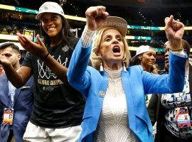 Kim Mulkey, head coach of Baylor, celebrates winning the 2019 women's college basketball championship. (Image: Suzanne Greenberg/Getty)