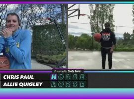 Allie Quigley (left) and Chris Paul (right) put on the most entertaining show in the first round of the NBA HORSE Challenge. (Image: @NBA/Twitter)