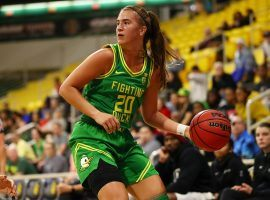 Sabrina Ionescu, Oregon star guard, during a victory over Long Beach State in 2019 in Long Beach, CA. (Image: Joe Scarnici/Getty)