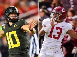 Oregon QB Justin Herbert and Alabama QB Tua Tagovailoa are competing to become the second quarterback picked in the 2020 NFL Draft. (Image: NY Post)