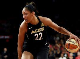 A'ja Wilson, former #1 pick, with the Las Vegas Aces during a 2019 game at T-Mobile Arena in Las Vegas. (Image: David Becker/Getty)