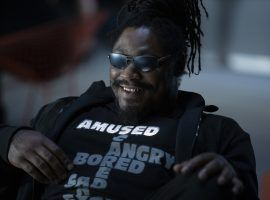 """Marshawn Lynch, as Giggles, during a party scene in an episode of """"Westworld"""" on HBO. (Image: HBO)"""