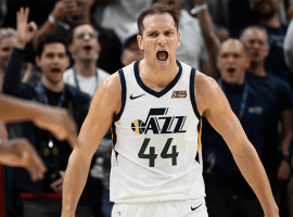Utah Jazz SF Bojan Bogdanovic celebrates drilling a3-pointer against the OKC Thunder at the Vivint Smart Home Arena in SLC, Utah. (Image: Alex Goodlett/Getty)