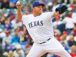 Bartolo Colon, pitching for the Texas Rangers in 2018 at age 45. (Image: Porter Lambert/Getty)