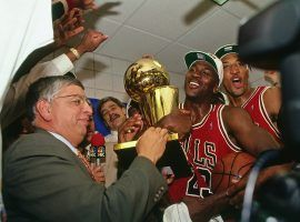 NBA commissioner David Stern awards the 1993 NBA Finals MVP to Michael Jordan after the Chicago Bulls won their third-straight NBA championship. (Image: Andrew D. Bernstein/Getty)