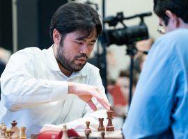 Hikaru Nakamura outlasted Magnus Carlsen to reach the final of the Lindores Abbey Rapid Challenge. (Image: Maria Emelianova/FIDE)