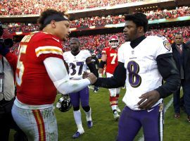 KC Chiefs QB Patrick Mahomes and Baltimore Ravens QB Lamar Jackson shakes hands after a game at Arrowhead Stadium in Kansas City. (Image: Jamie Squire/Getty)