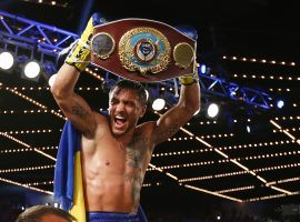 Lightweight champion Vasiliy Lomachenko (pictured) could fight fellow champion Teofimo Lopez in September, one of many rescheduled boxing matches being added to the calendar in the months to come. (Image: Rich Schultz/Getty)