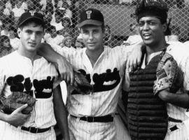 Dermot Mulroney, William Peterson, and Larry Riley as the 1957 Tampico Stogies in the Alabama-Florida minor league. (Image: HBO)