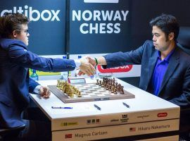 Magnus Carlsen (left) and Hikaru Nakamura (right) will face off in the final of the Magnus Carlsen Invitational. (Image: Chess.com/Maria Emelianova)