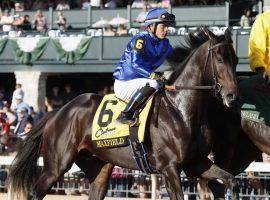 The last time we saw Maxfield race, he came from ninth to first to win the Breeders' Futurity last October. He returns to the gate Saturday after 7 1/2 months off. (Image: Eclipse Sportswire)