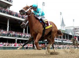 Monomoy Girl, seen here nipping Wonder Gadot to win the 2018 Kentucky Oaks, returns to racing for the first time in 18 months Saturday. She is a 4/5 favorite in an allowance race. (Image: Churchill Downs)