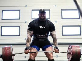 Hafthor Bjornsson, aka 'The Mountain' from 'Game of Thrones', trains in his home gym in Reykjavik, Iceland. (Image: Runar Geirmundsson/Rogue)